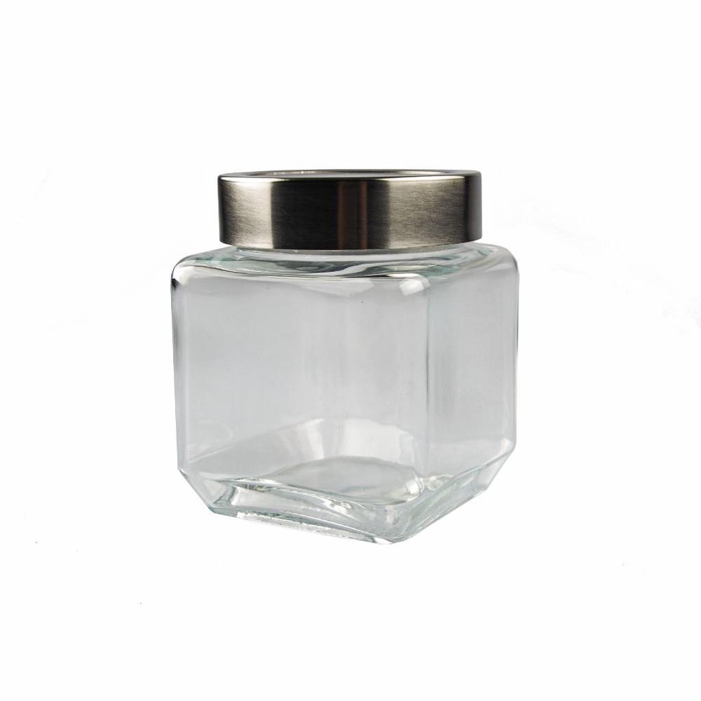 Frasco de vidrio con tapa transparente
