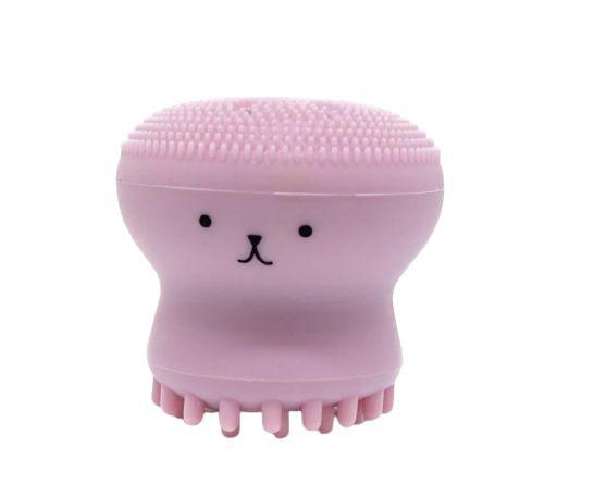 Esponja massageadora de silicone formato de polvo