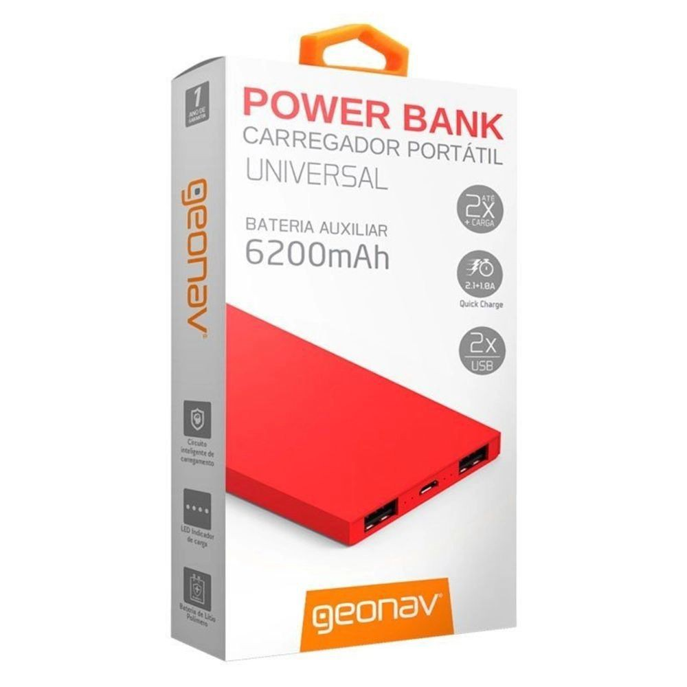 Carregador portátil power bank 2 saídas USB vermelho
