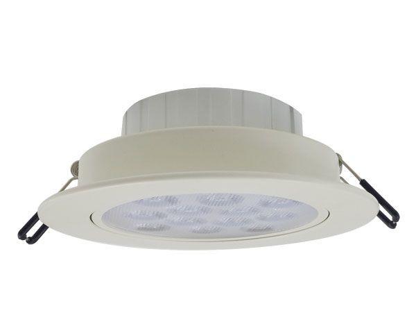 Foco empotrado smd led 12w luz cálida bisel aluminio blanco