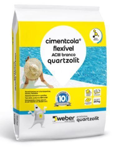 Argamassa cimentcola flexível ac3 para uso interno e externo quartzolit 20kg branco