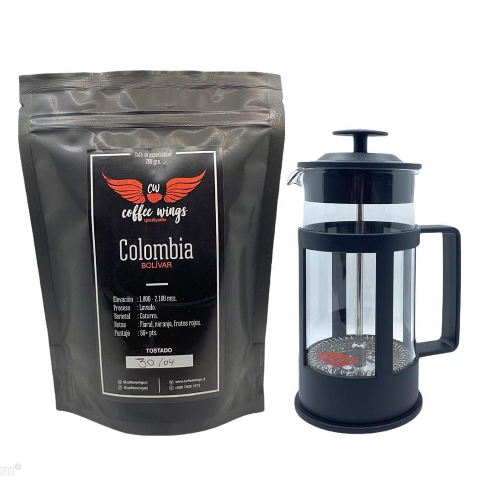 Colombia café de especialidad (grano) + cafetera francesa 3 tazas 250 grs. + 350 ml