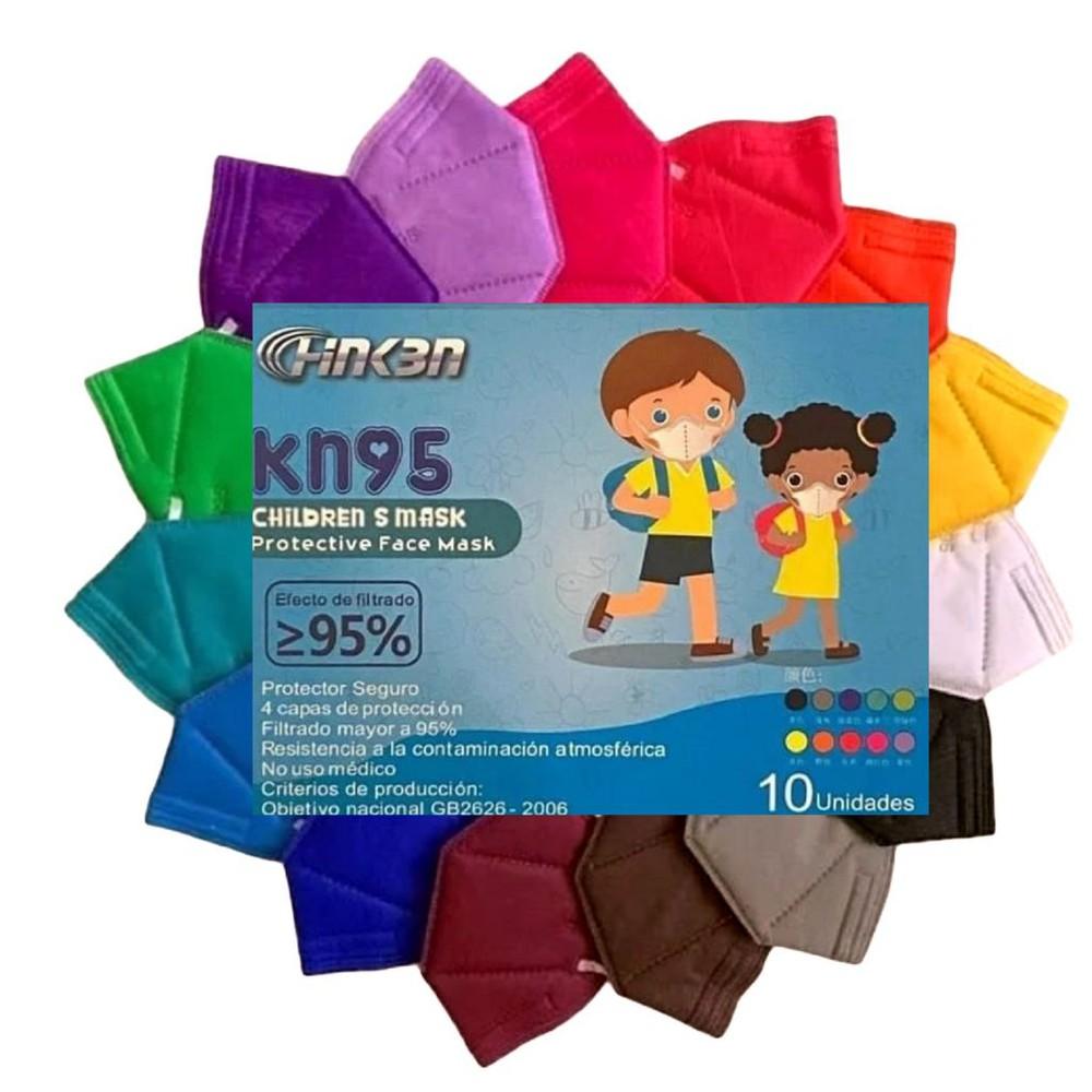 10 mascarillas kn95 mix colores niño (certificadas) Caja 10 unidades