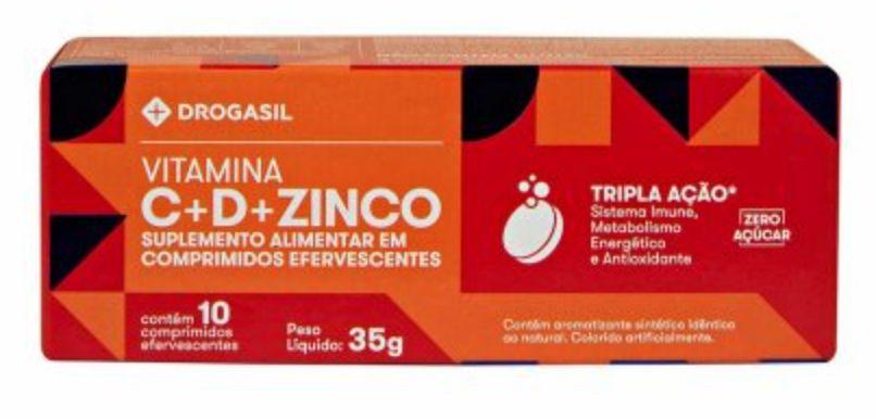 Vitamina C 1g e vitamina D 400UI + zinco 10mg