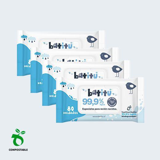Toallitas húmedas 99,9% agua compostables - 320 unidades Bolsa de 320 Unidades