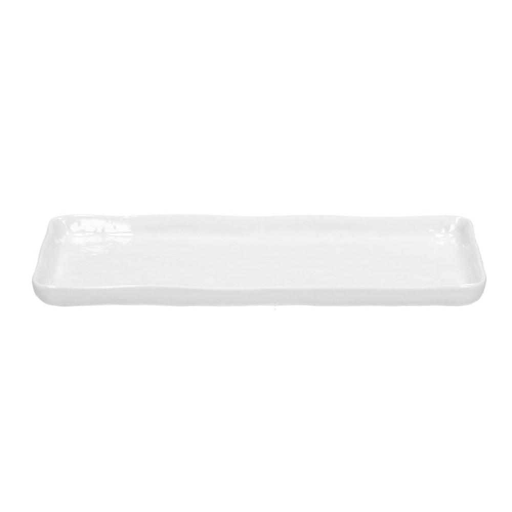 Fuente rectangular porcelana cuadrado | blanco