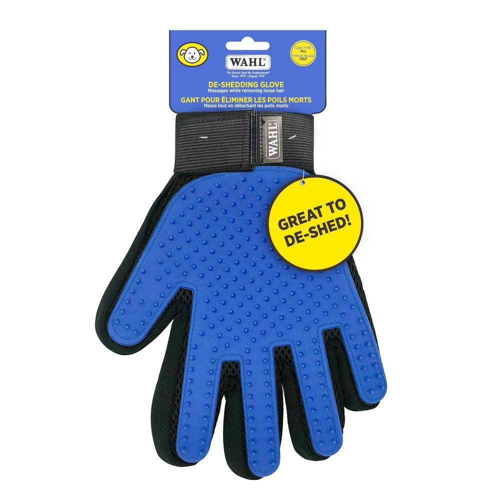 De-shedding blue glove