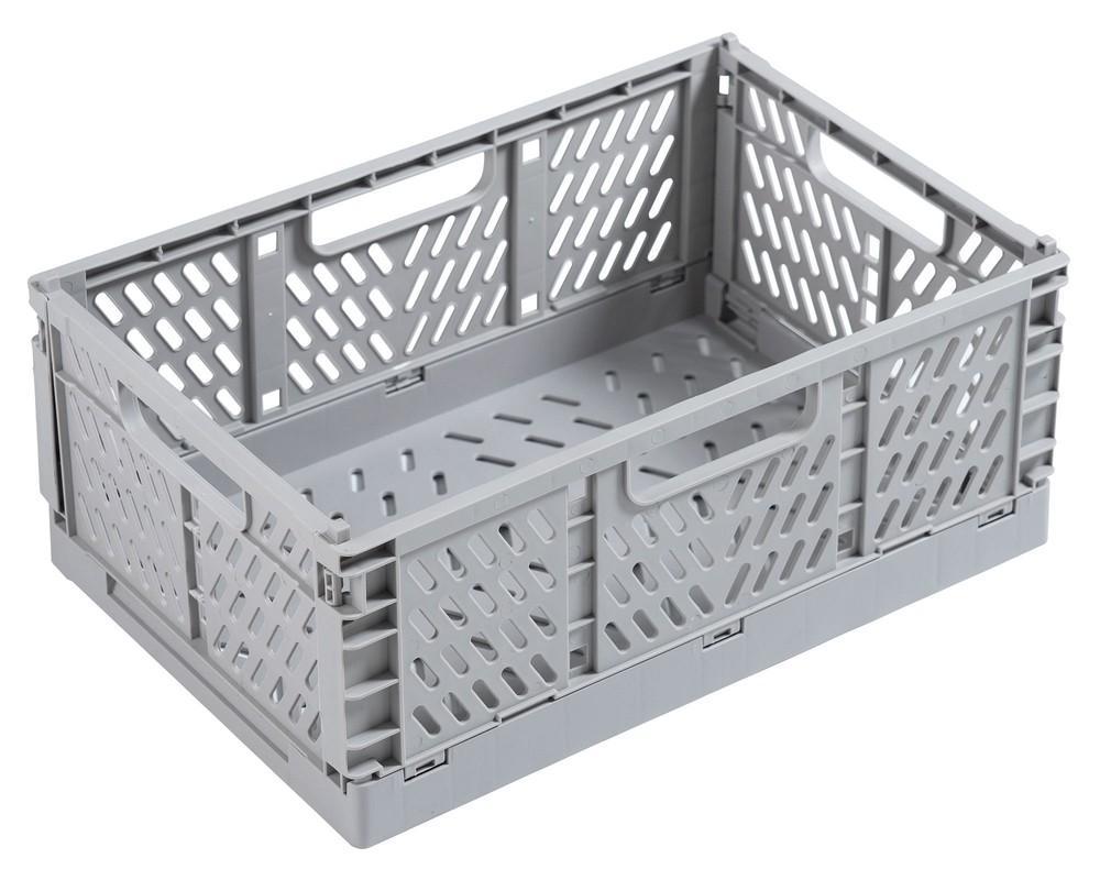 Canasto organizador plegable plástico gris