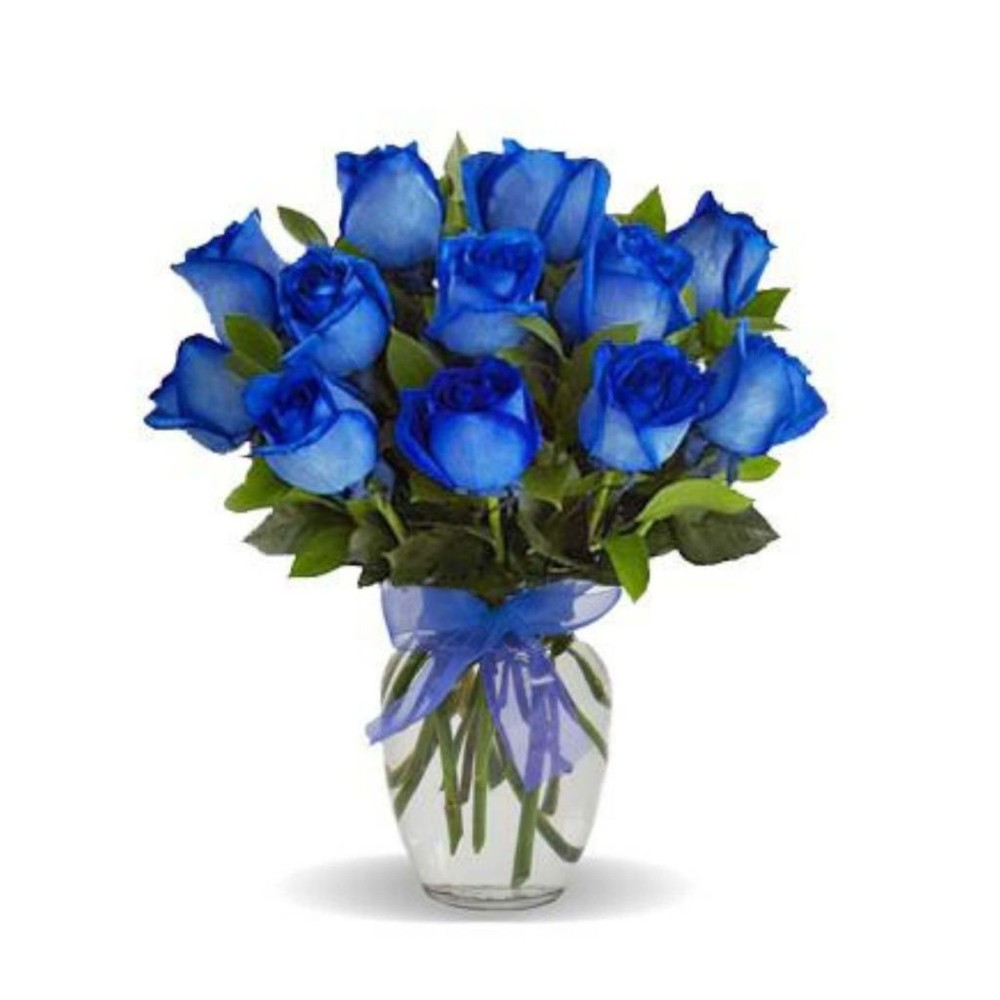 Bold Blue Roses in Love - Premium Size (12 Roses)