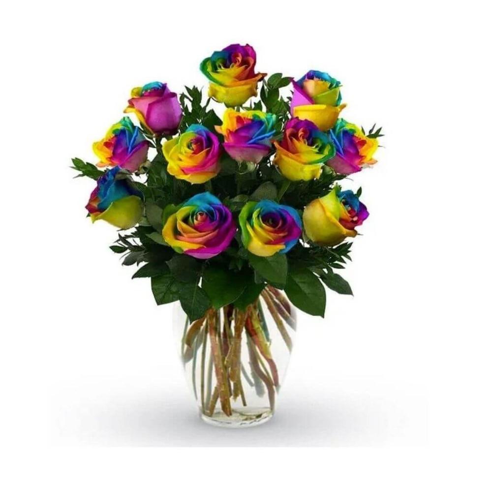 Radiant Rainbow Rose Dream - Premium Size (12 Roses)