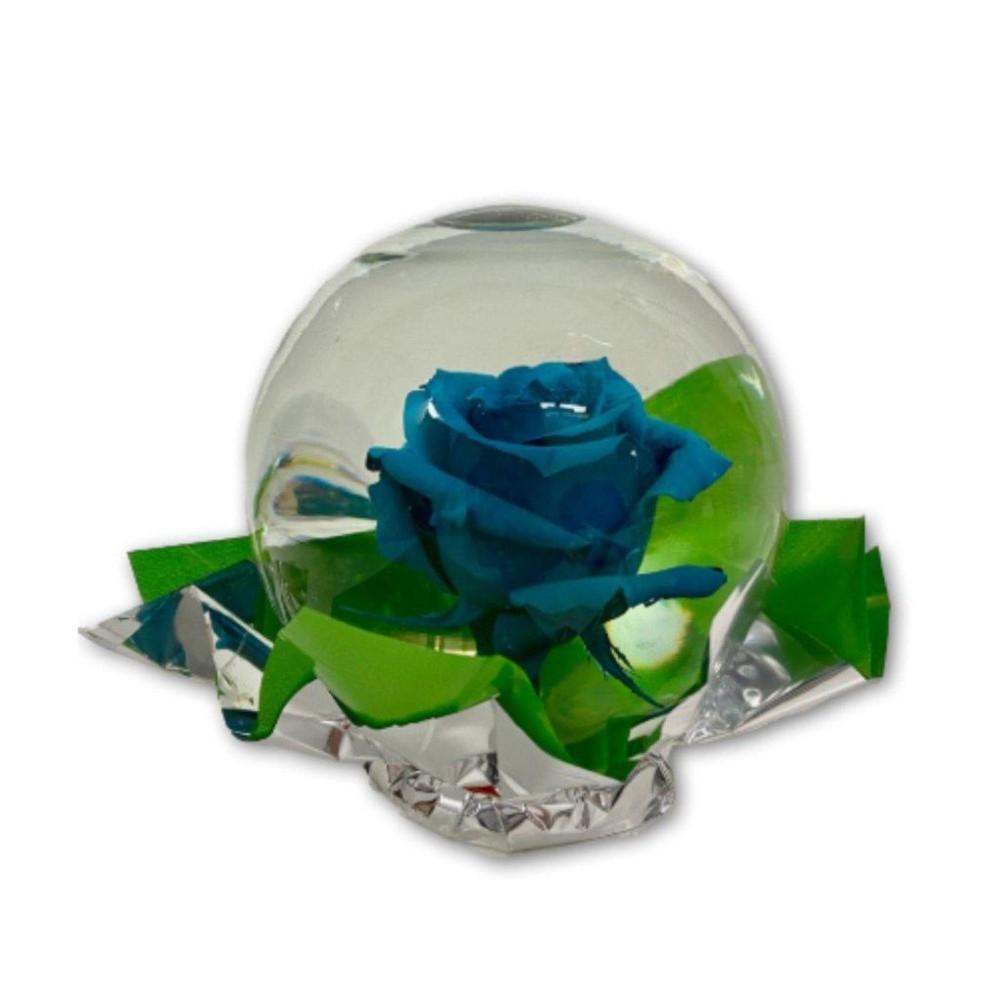 Beautiful Blue Rose in Glass Orb