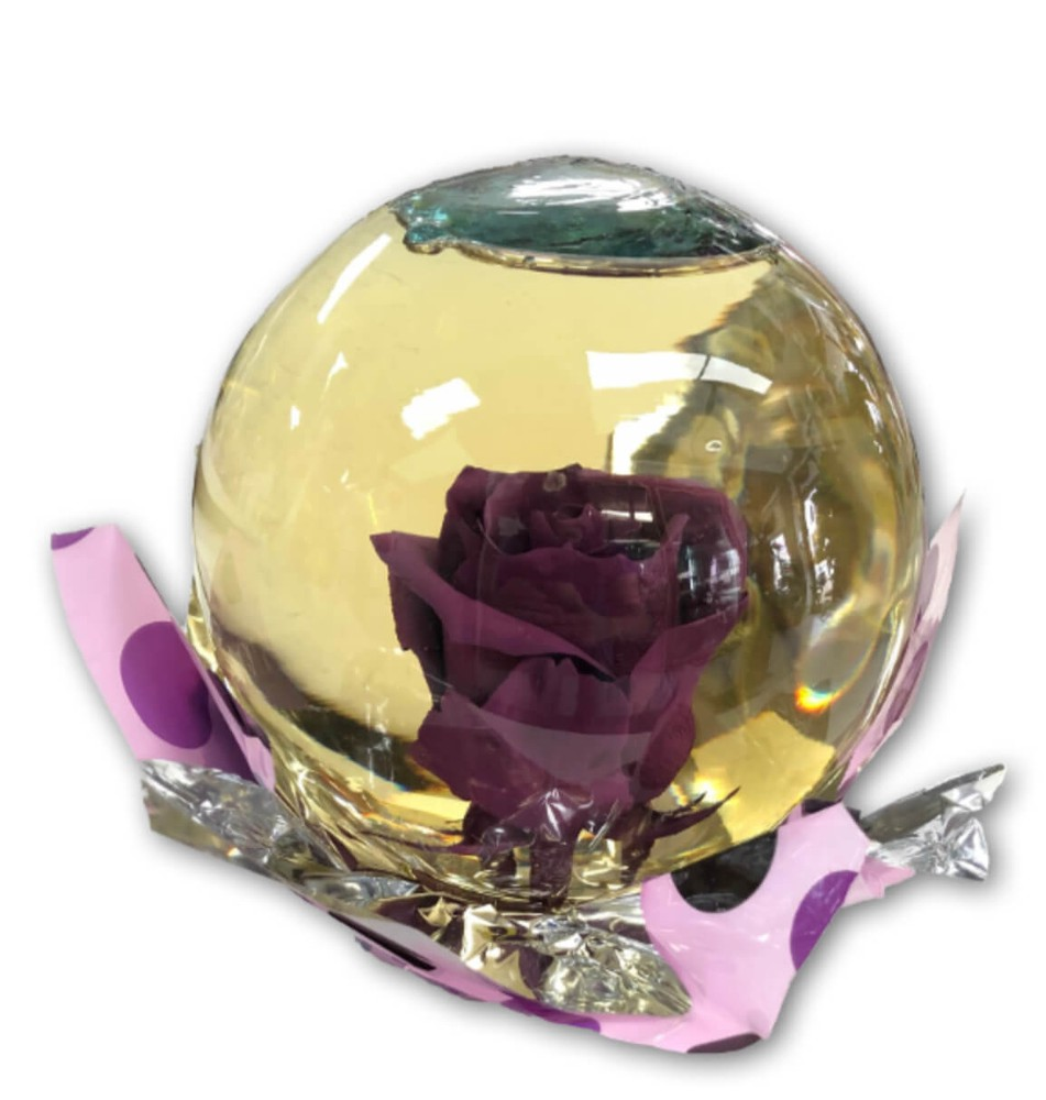Pretty Purple Rose in Glass Orb