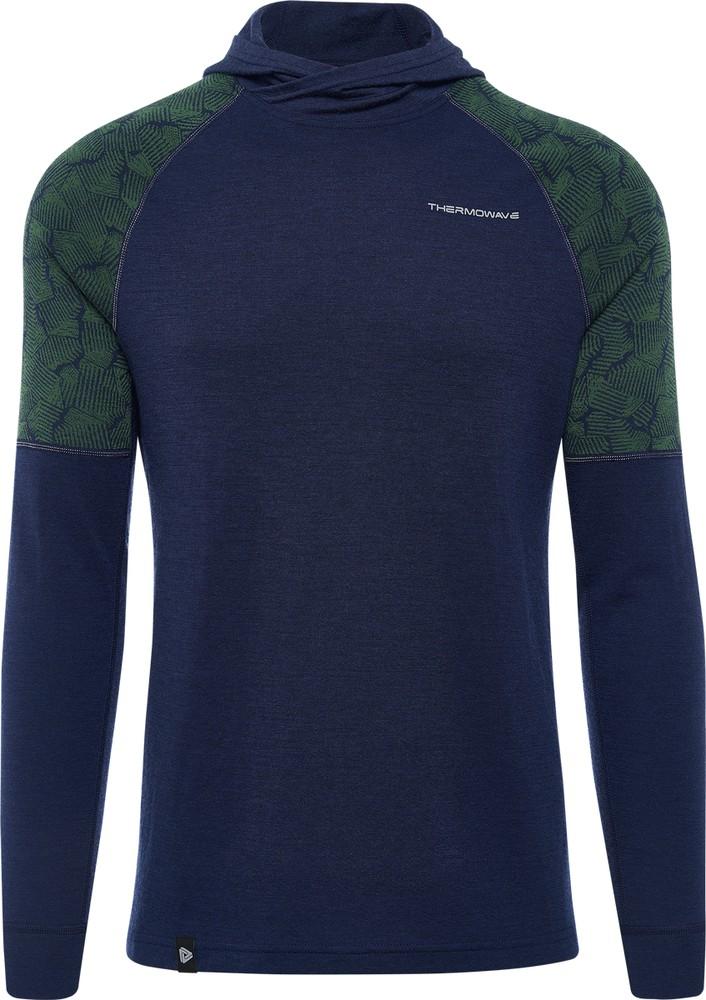 Merino xtreme ls hoodie men night blue/ivy green talla l