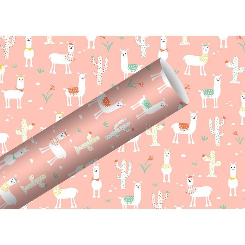 Rollo papel regalo hojas -rosado infantil llamas