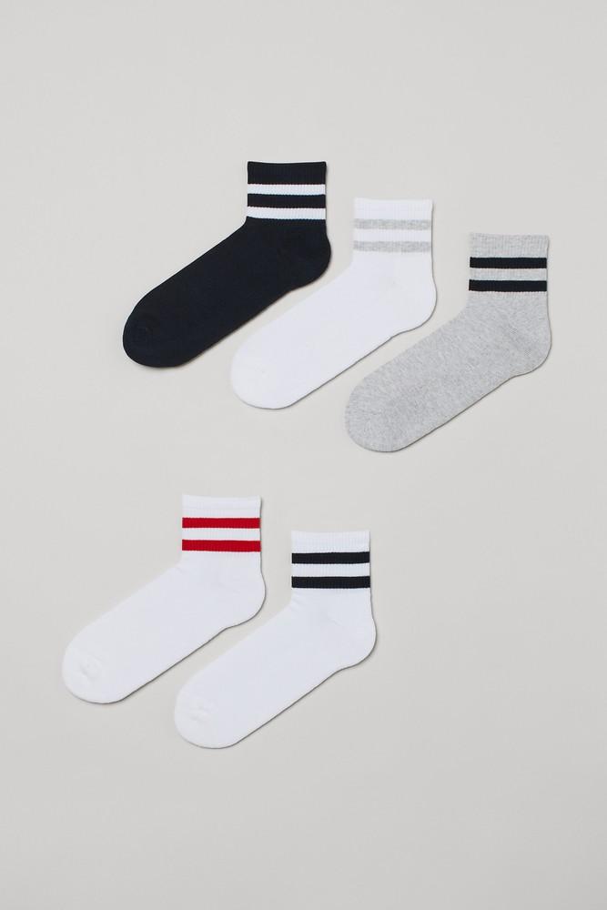 5-Pack Socks Color: white/gray melange/black. Size: 10-11.5