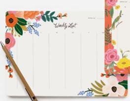 Memo semanal escritorio rosas y flores