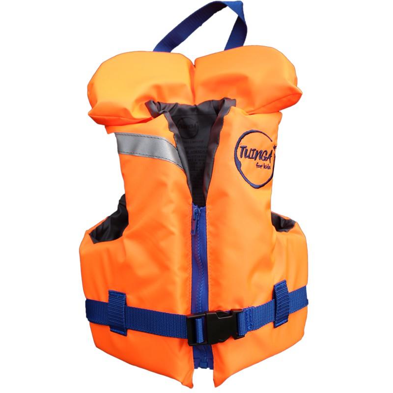 Chaleco salvavidas naranjo/azul con cuello