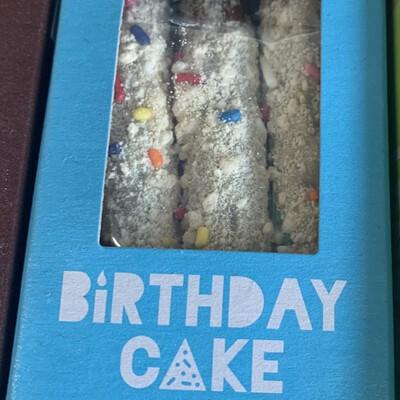 Milk chocolate covered pretzels - birthday cake
