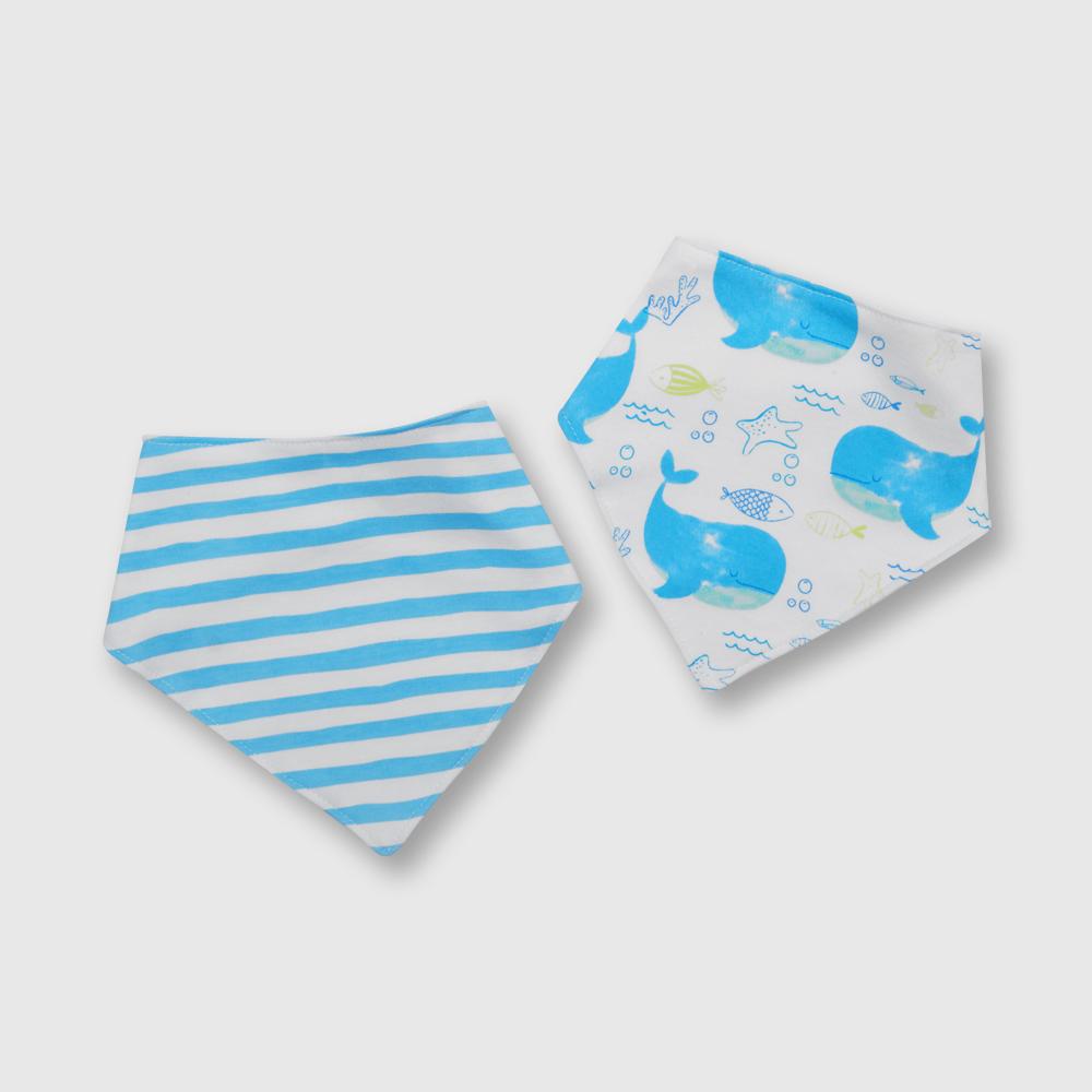 Babero de bebé niño bandana 2 pack ballenas blanco talla unica
