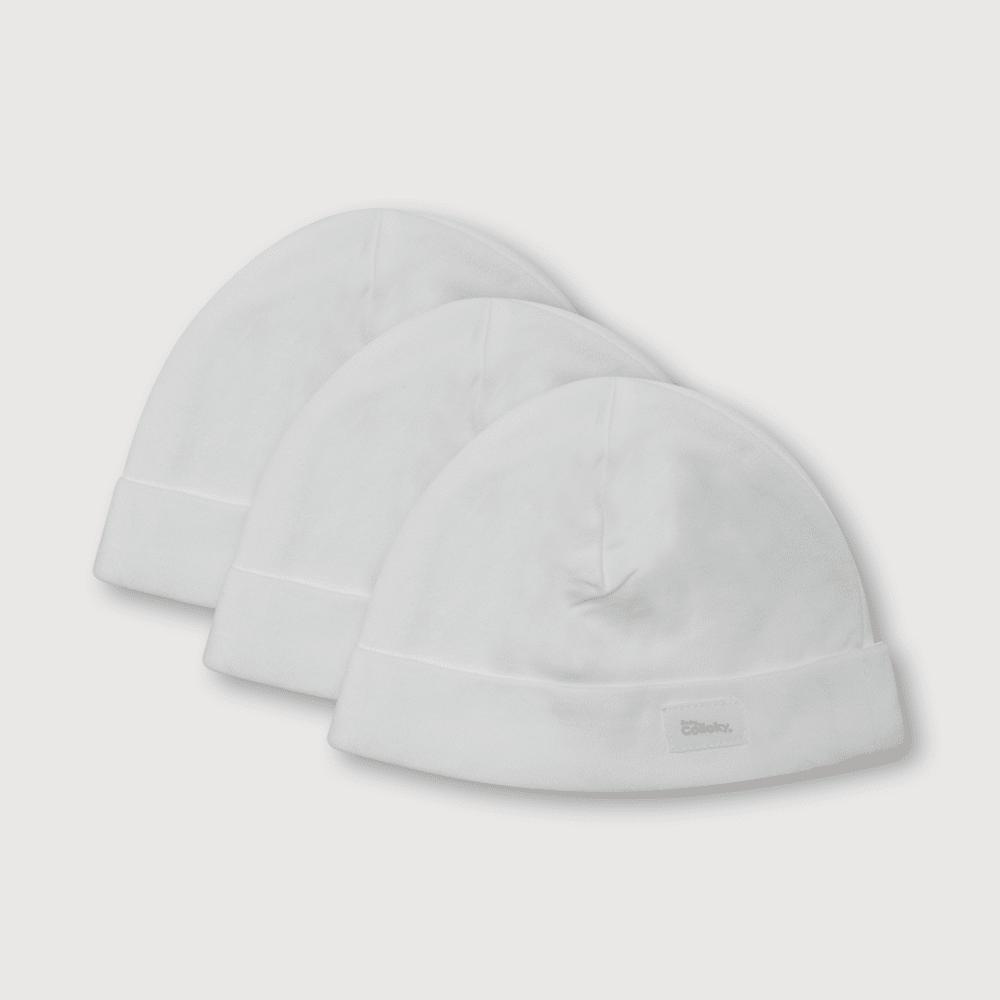 Gorro de bebé 3 pack blanco (0 a 2 años)