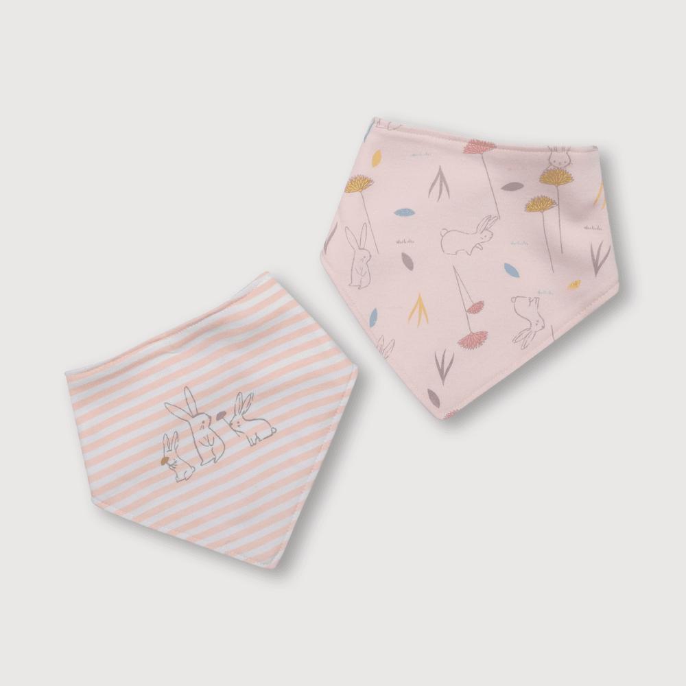 Babero de bebé niña bandana 2 pack conejos rosado talla unica