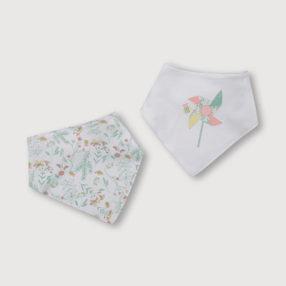 Babero de bebé niña bandana 2 pack flores blanco talla unica