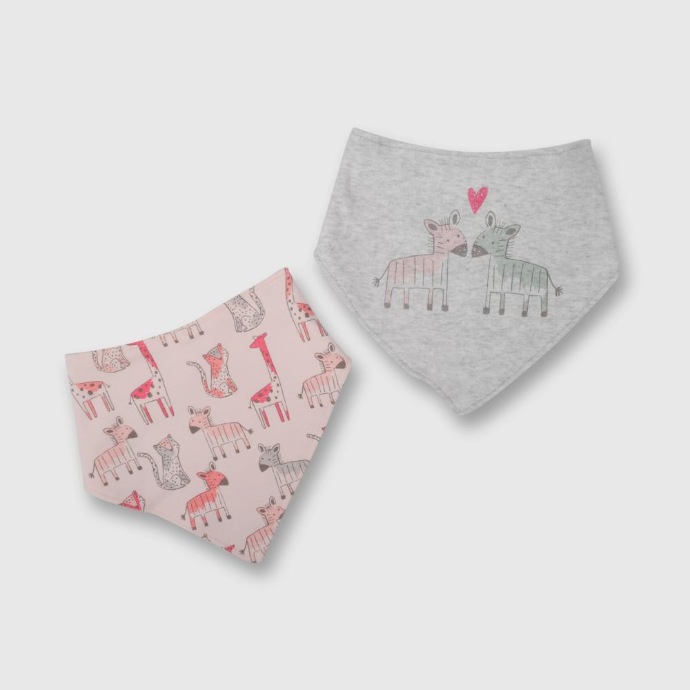 Babero de bebé niña bandana 2 pack jirafa rosado talla unica