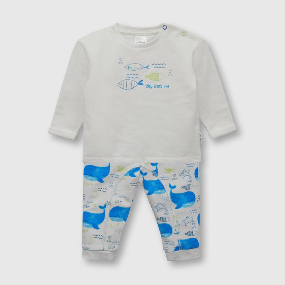 Conjunto de bebé niño ballenas blanco (0 a 6 meses)
