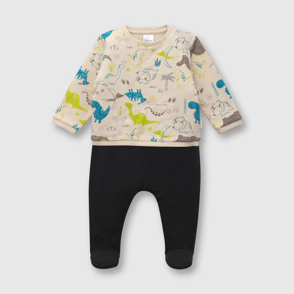 Conjunto de bebé niño dinosaurios  beige (0 a 6 meses)