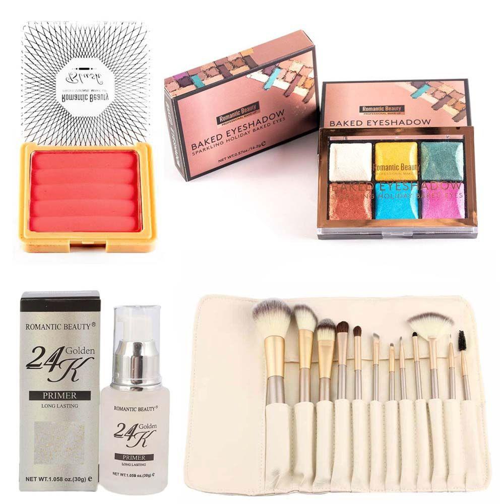 Kit maquillaje sombras + brochas + primer + rubor cvl