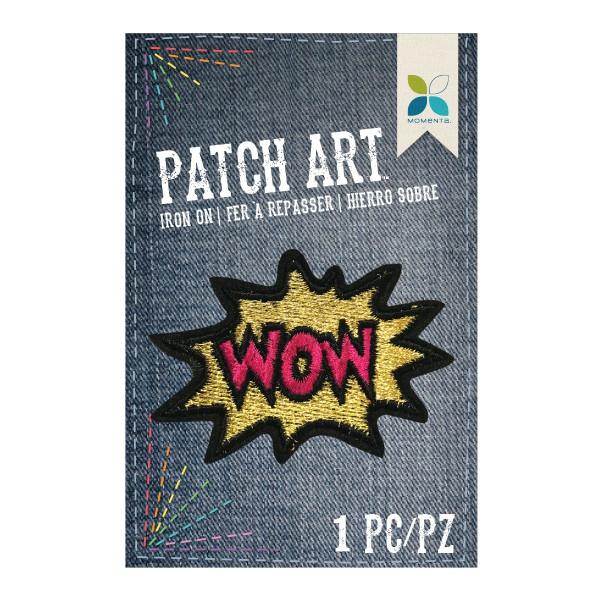 Parche decorativo tela bordado wow 7 x 5 cm aprox