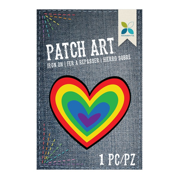 Parche decorativo tela bordado corazón arco iris