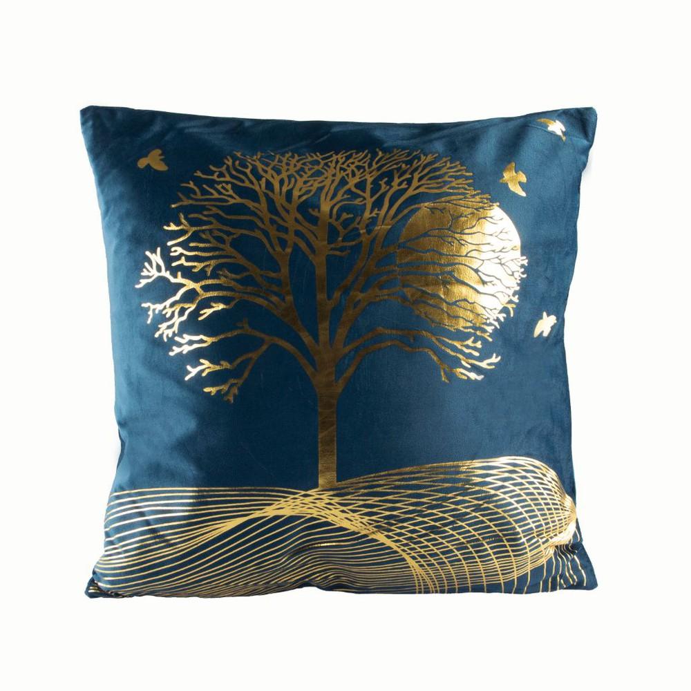 Cojín de terciopelo diseño árbol de la vida azul