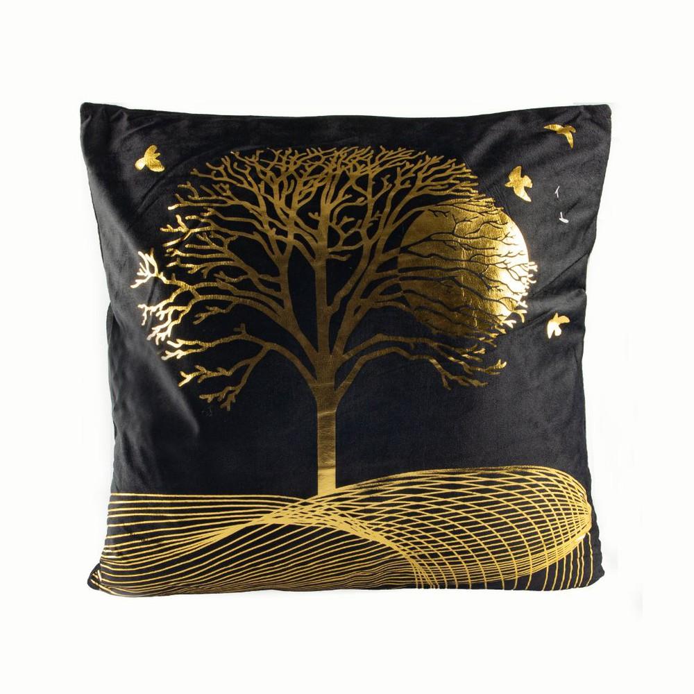 Cojín de terciopelo diseño árbol de la vida negro