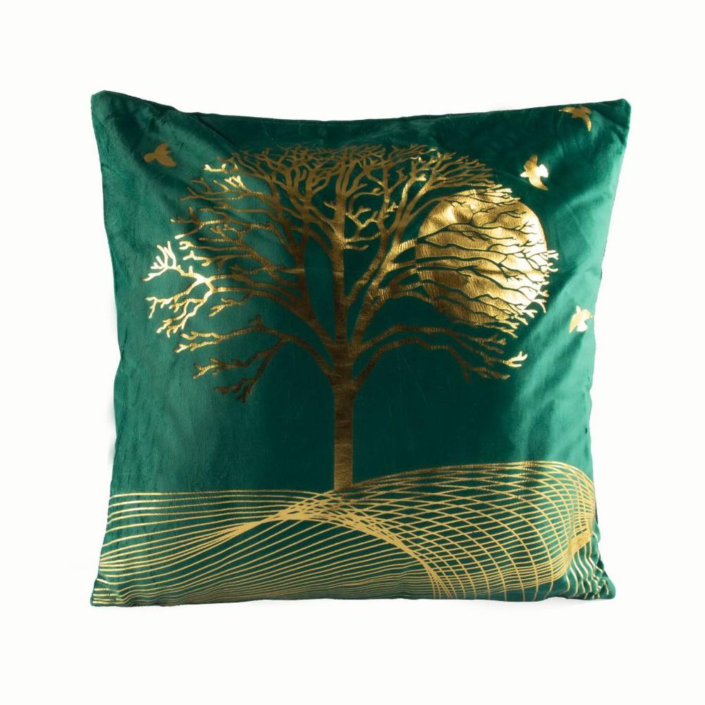Cojín de terciopelo diseño árbol de la vida  verde