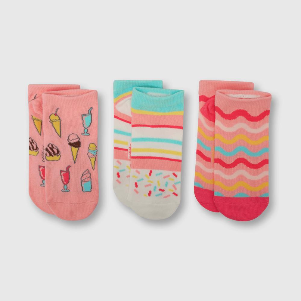 Calcetin de niña 3 pack corto helados rosado (3 años a 10 años)