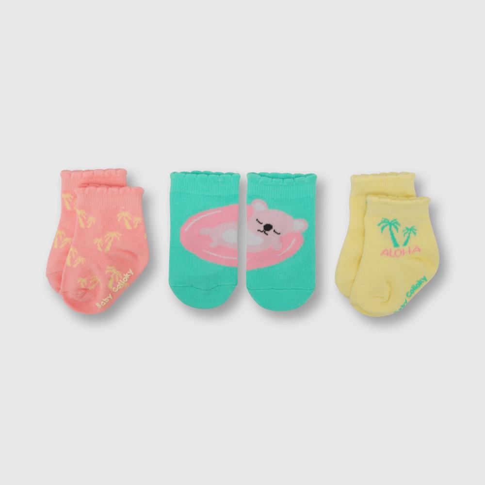 Calcetin de niña 3 pack hawaii calipso claro (0 a 4 años)