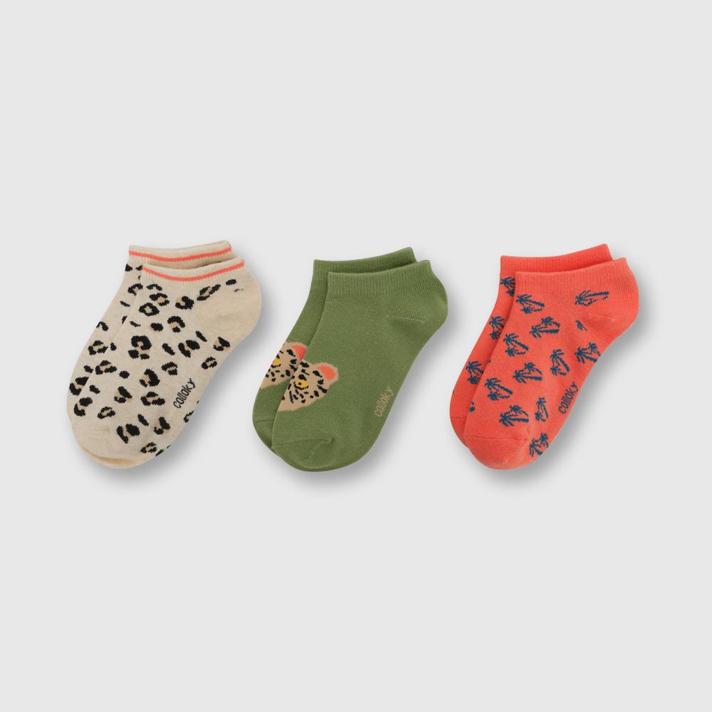 Calcetin de niña 3 pack corto safari verde (3 años a 10 años)