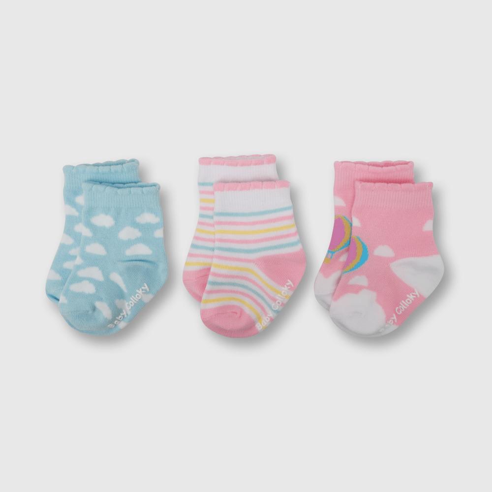 Calcetin de niña 3 pack nubes rosado (0 a 4 años)