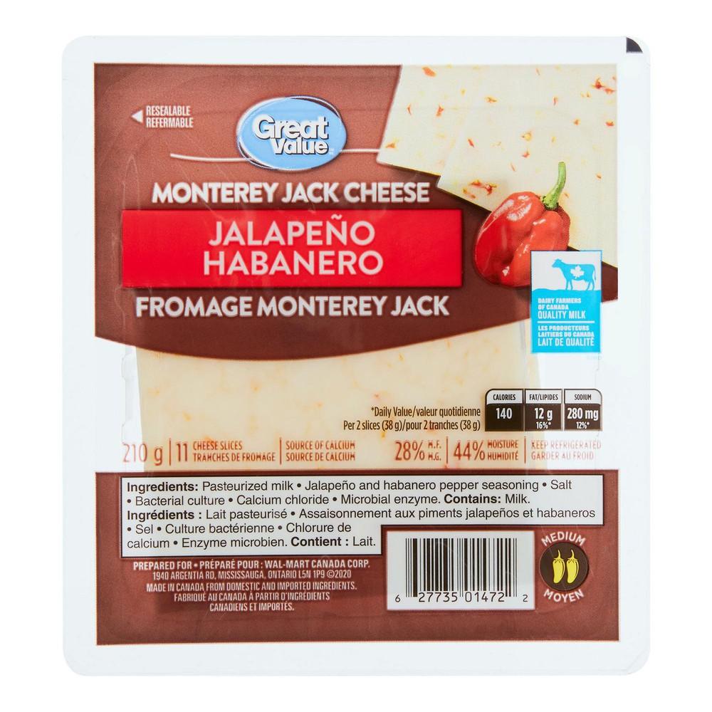 Jalapeño habanero monterey jack cheese slices