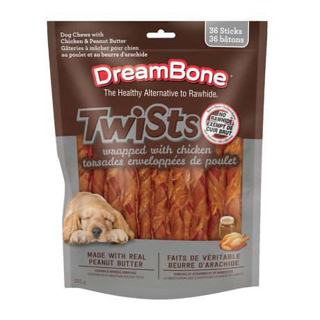 Twists wrapped with chicken for dogs