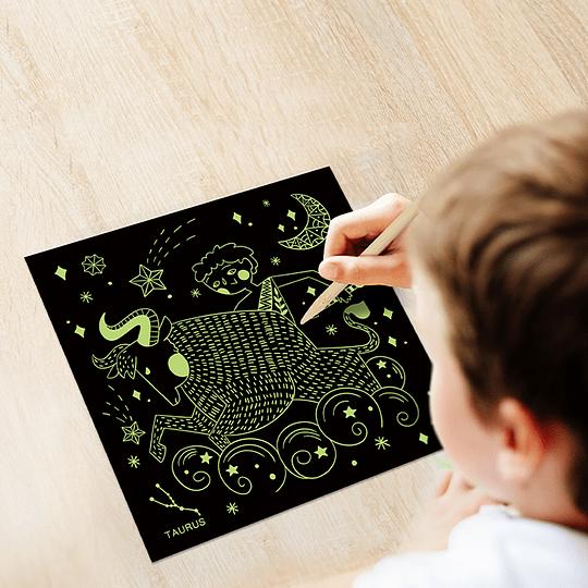 Luminous scratch art cards - twelve constellations