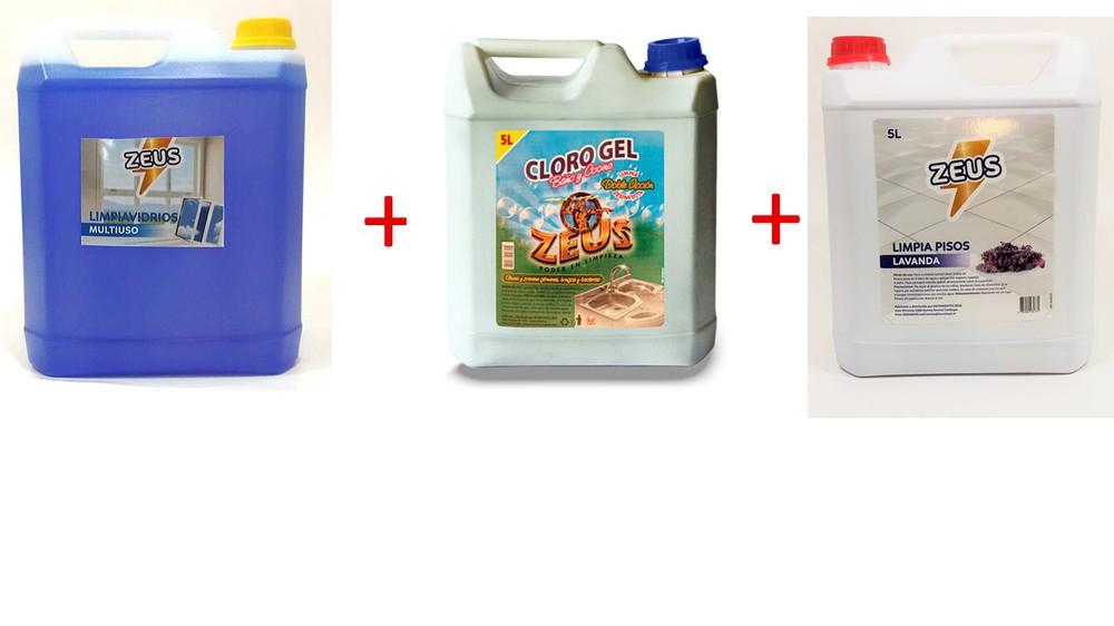 Pack 5 lt limpia vidrios + limpia pisos + cloro gel