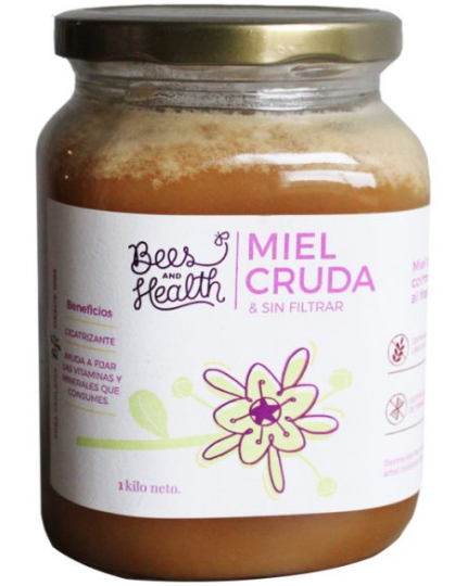 Miel cruda sin filtrar sin gluten Frasco de 1 kg