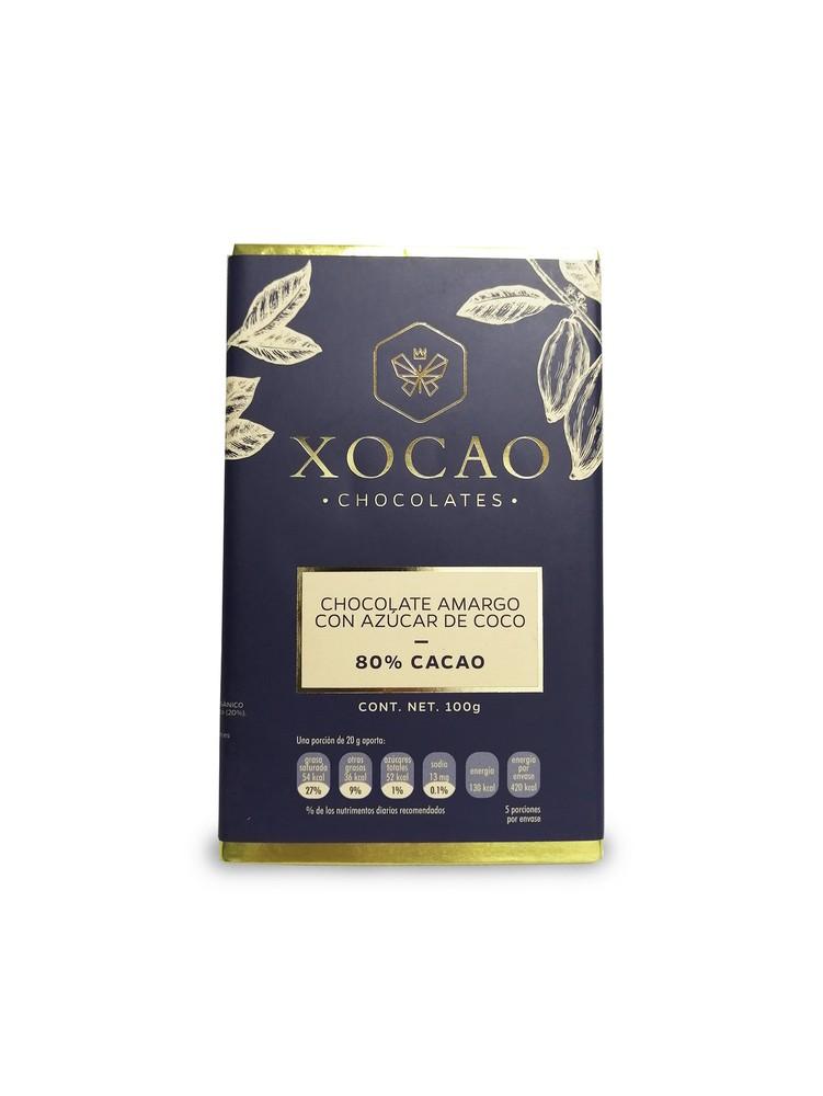 Chocolate 80% cacao con azúcar de coco