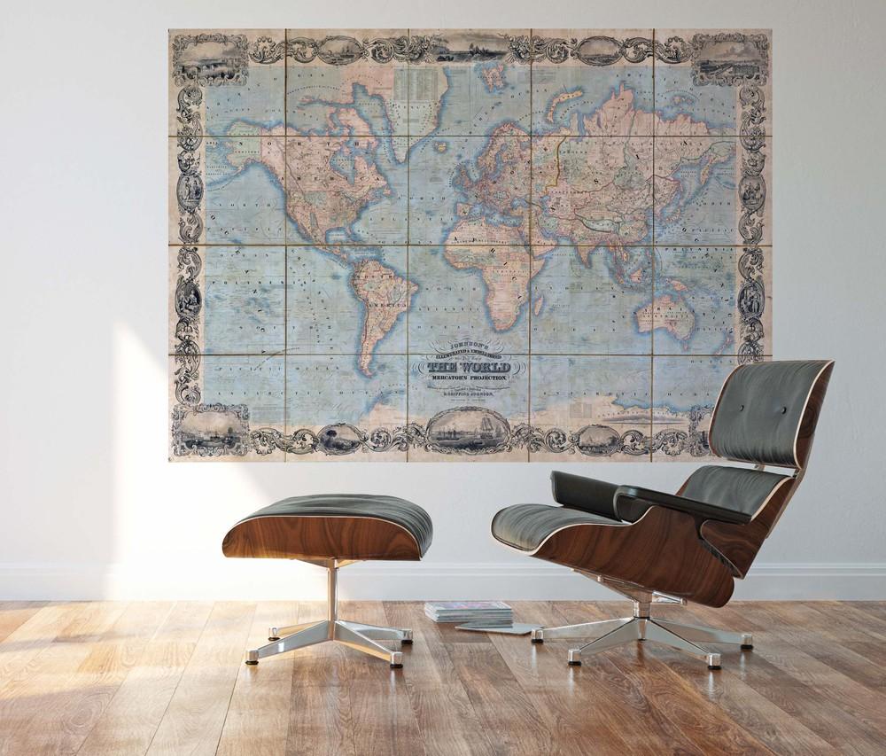Deco mural mapa del mundo vintage