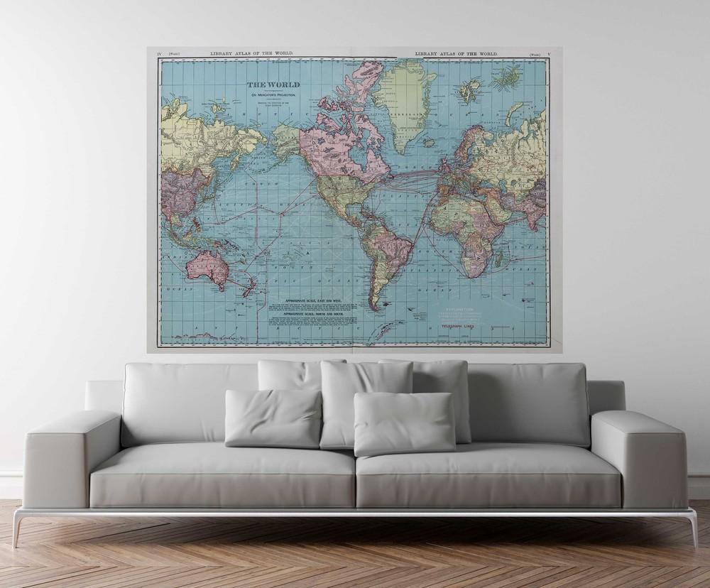 Deco mural mapa del mundo