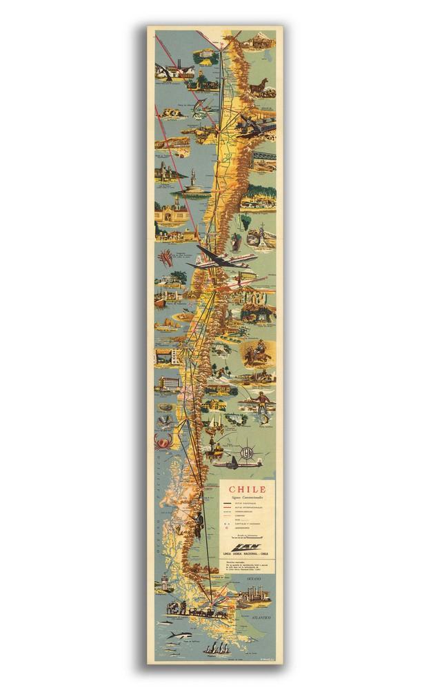 Mapa de chile ilustrado 1955