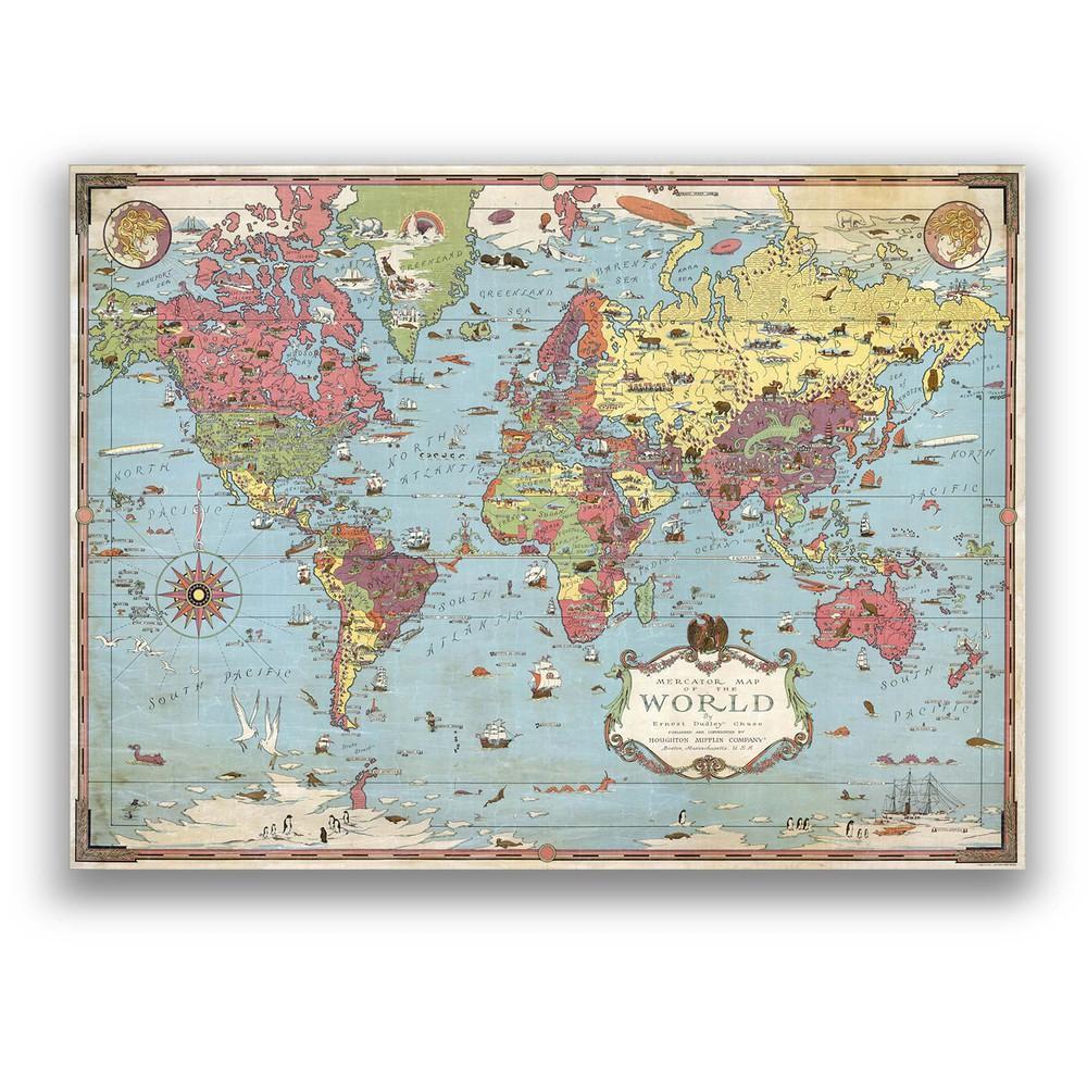 Antiguo mapa del mundo ilustrado