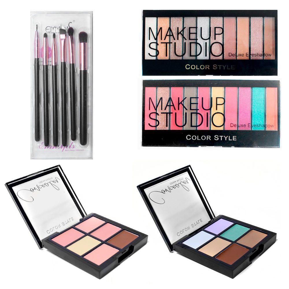 2 paletas sombras maquillaje + correctores y set brochas cvl